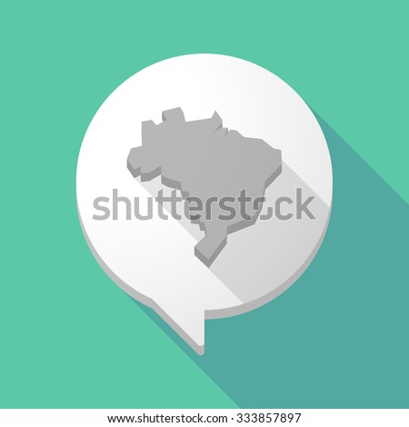 Illistration of a long shadow comic balloon with  a map fo Brazil - stock vector