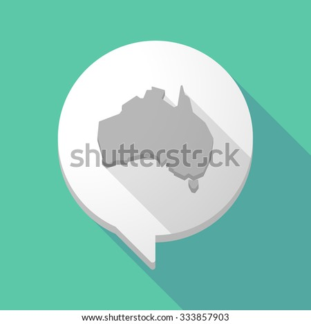 Illistration of a long shadow comic balloon with  a map of Australia - stock vector