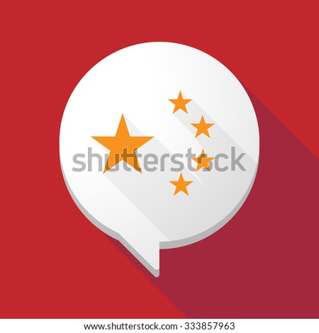 Illistration of a long shadow comic balloon with  the five stars china flag symbol - stock vector