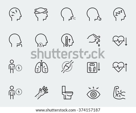 Illness symptoms vector icon set in thin line style - stock vector