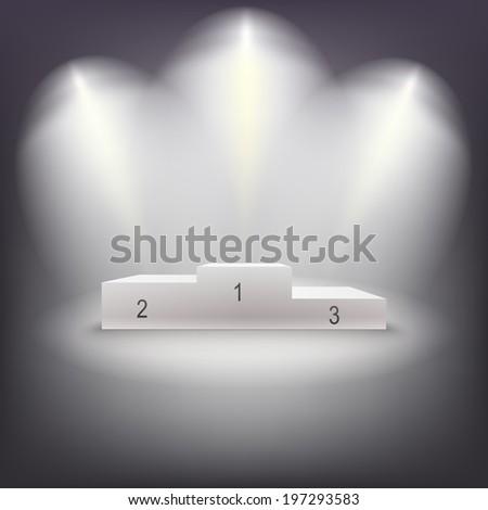 Illuminated business winners podium in dark room. Vector illutration. - stock vector