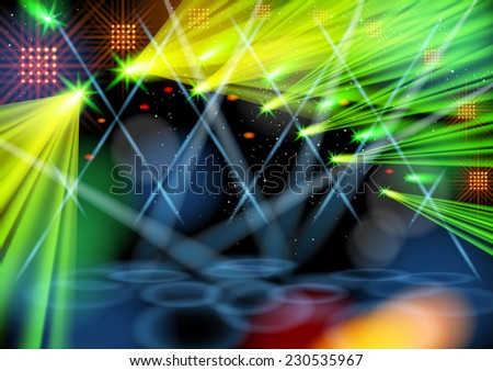 Illuminated empty stage. Light show. Vector image. Smartly grouped and layered. Masks were used. - stock vector