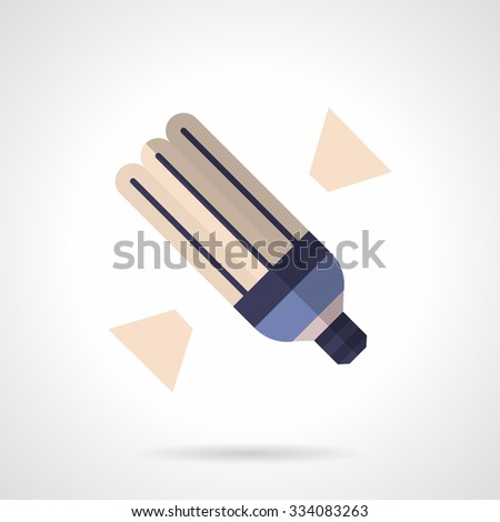 Illuminated energy saving light bulb. Alternative power. Flat color style vector icon.  Web design element for site or mobile application. - stock vector