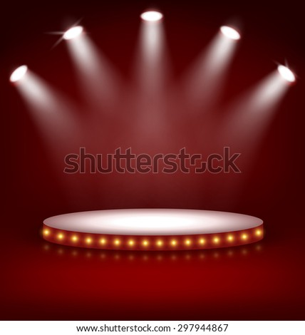 Illuminated Festive Stage Podium with Lamps on Red Background  - stock vector