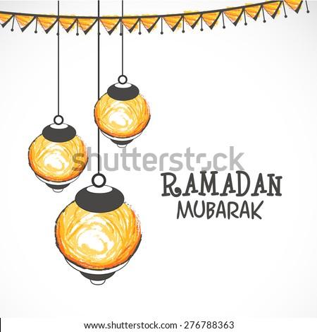 Illuminated hanging lanterns on grey background for Islamic holy month of prayers, Ramadan Mubarak celebrations.  - stock vector