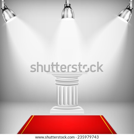 Illuminated Ionic Column With Red Carpet. Vector Illustration. - stock vector