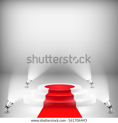Illuminated Podium With Red Carpet. Vector Illustration. - stock vector