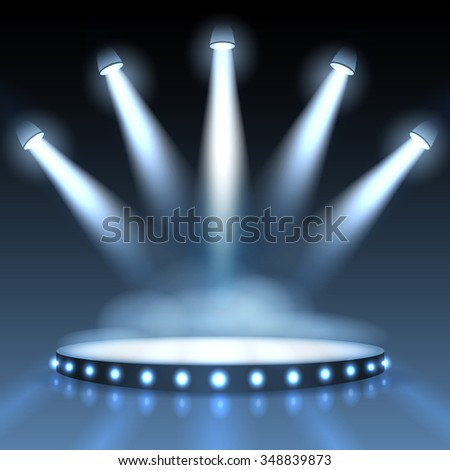 Illuminated podium with spotlights. Abstract background presentation. Show with spotlight, scene or stage studio empty. Vector illustration - stock vector