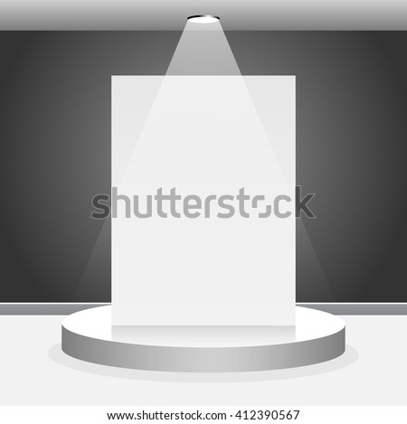 Illuminated round scene with blank frame - stock vector