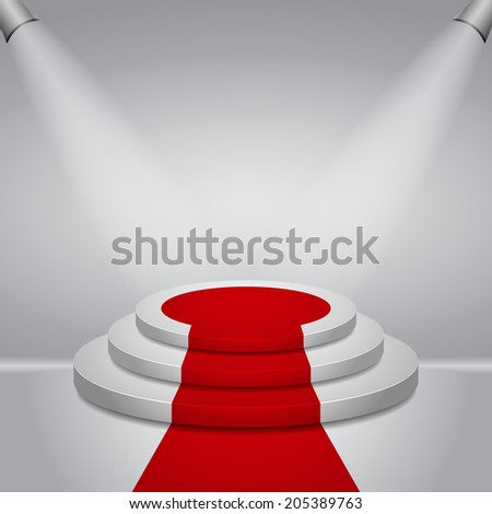 Illuminated round stage podium with red carpet for award ceremony vector illustration  - stock vector