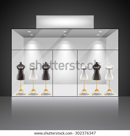 Illuminated shop showcase interior with mannequins photo realistic vector background - stock vector