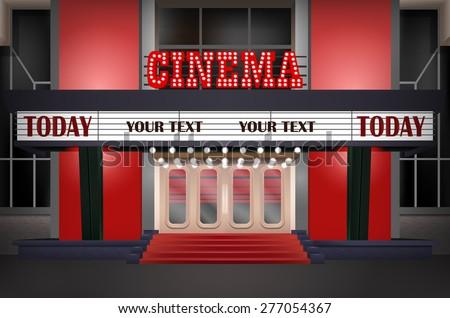 Illuminated sign in a retro-style cinema, illuminated cinema marquee - stock vector