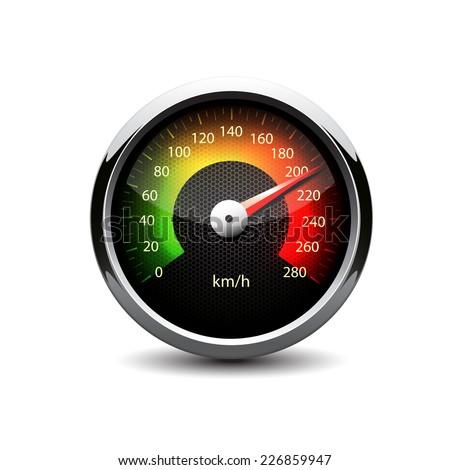 illuminated speedometer on a white background  - stock vector