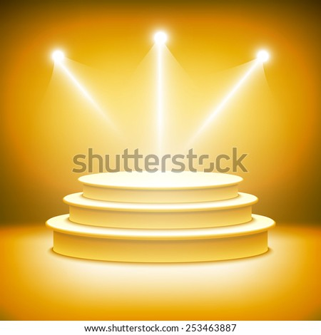 Illuminated stage podium for award ceremony vector - stock vector