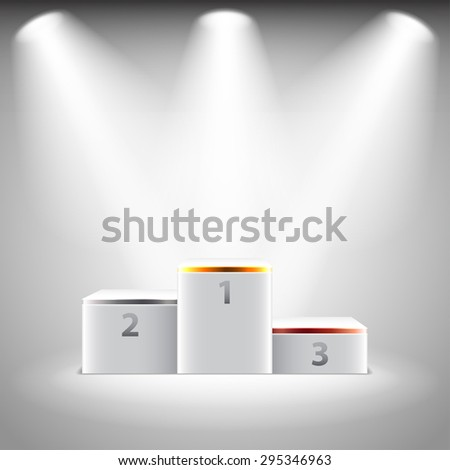 Illuminated stage podium for winners photo realistic vector background - stock vector