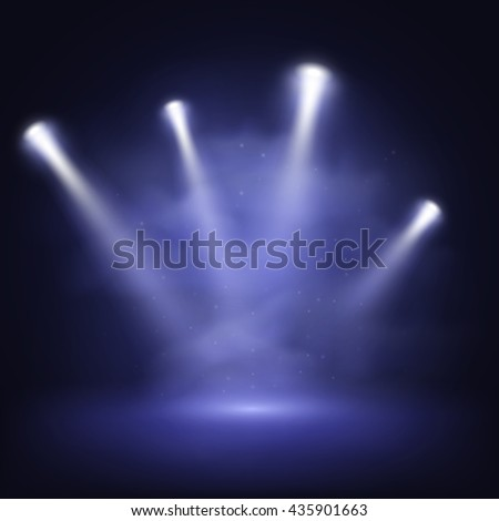 Illuminated stage with scenic lights and smoke, vector EPS10 - stock vector