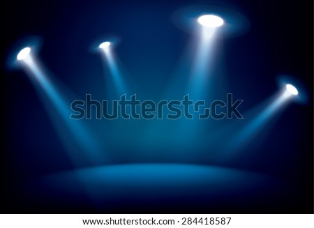 Illuminated stage with scenic lights, vector background - stock vector