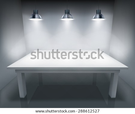 Illuminated table. Vector illustration. - stock vector