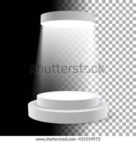 Illuminated white round podium vector illustration. - stock vector