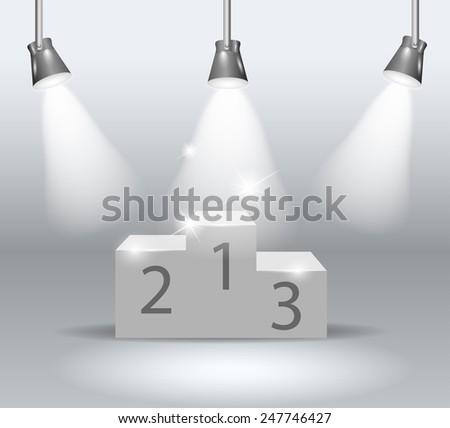 illuminated winners podium isolated on grey background - stock vector