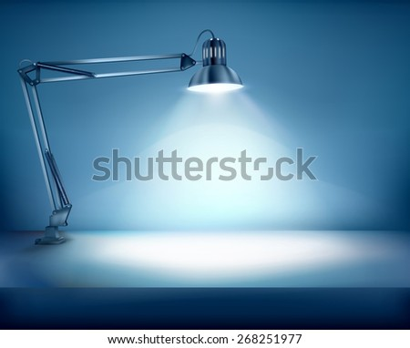 Illuminated work place. Vector illustration. - stock vector