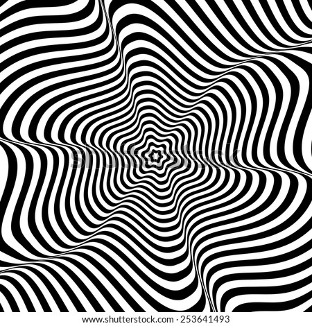 Illusion of wavy rotation movement. Vector art. - stock vector