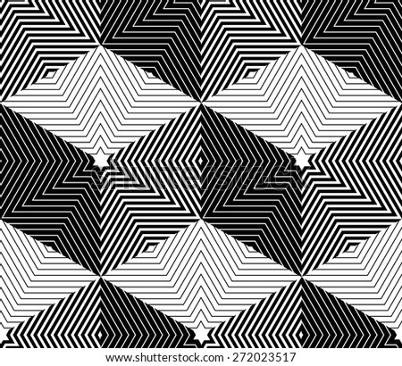 Illusive continuous monochrome pattern, decorative abstract background with 3d geometric figures. Contrast ornamental seamless backdrop, can be used for design and textile. - stock vector