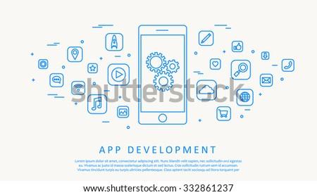 Illustartion of app development concept - stock vector