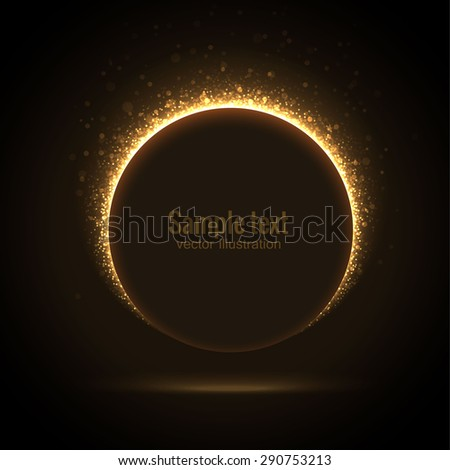 Illustartion of Gold glittering star dust circle banner - stock vector