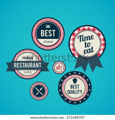 Illustartion of Set of vintage retro restaurant badges - stock vector