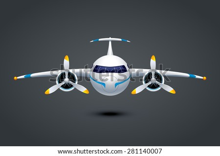 illustation of plane with two propeller engine on dark background - stock vector