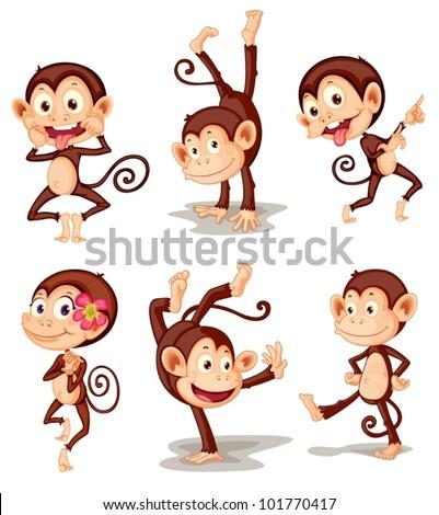Illustraiton of comical monkey series - stock vector