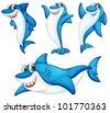 Illustraiton of comical shark series - stock vector