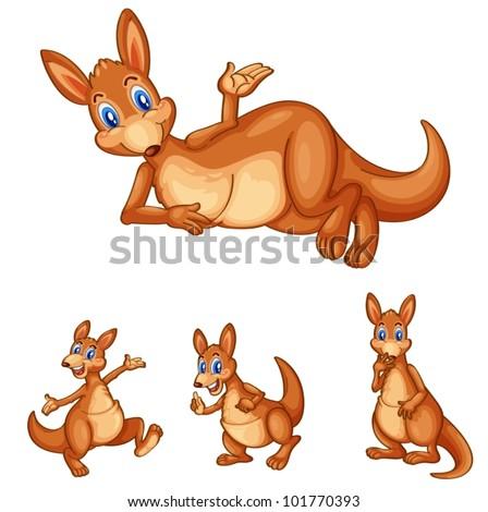 Illustraiton of mixed kangaroo cartoons - stock vector