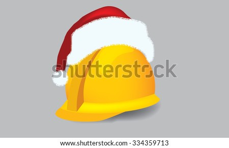 Illustrate vector construction cap, hardhat with christmas theme - stock vector