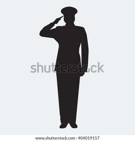 Illustrated Army general silhouette with hand gesture saluting. Vector military man. Veterans day design element. - stock vector