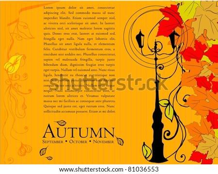 illustrated autumn background - vector illustration - stock vector