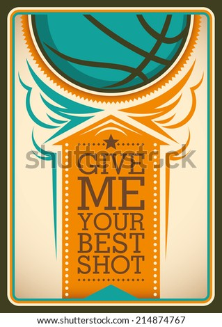 Illustrated basketball poster in color. Vector illustration. - stock vector