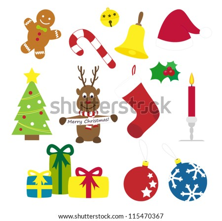 Illustrated christmas things - stock vector