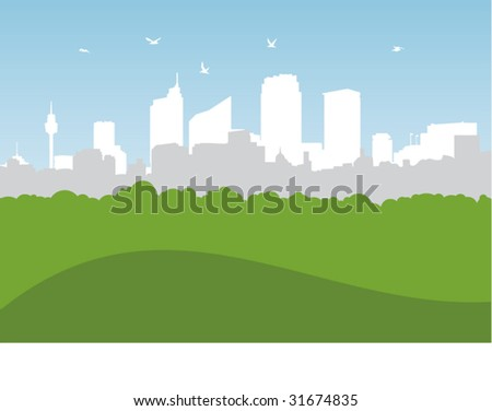 Illustrated city scene with greenery foreground and space for copy - stock vector