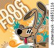 Illustrated comic dog food background. Vector illustration. - stock vector
