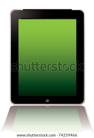 Illustrated computer hand held tablet with blank screen - stock vector
