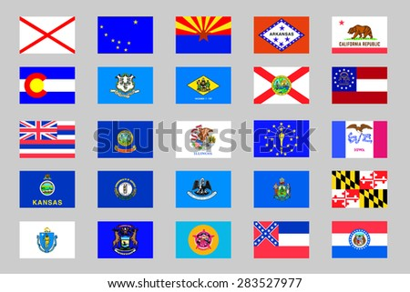 Illustrated Flags from the continent of the United States of America - stock vector
