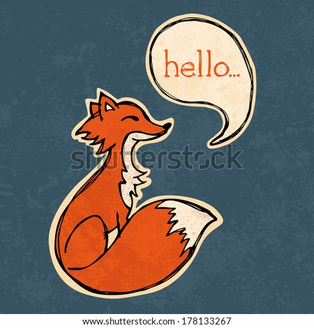 Illustrated fox drawing with text and texture - stock vector