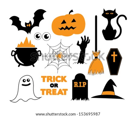 Illustrated Halloween icons in black, white and orange - stock vector
