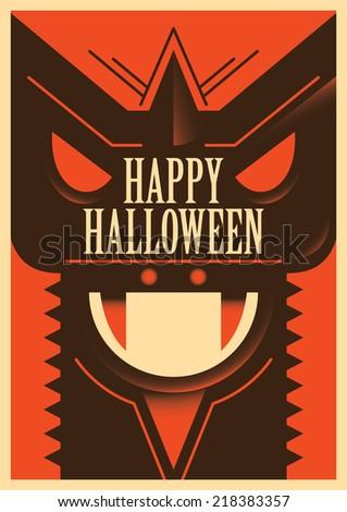 Illustrated halloween poster. Vector illustration. - stock vector