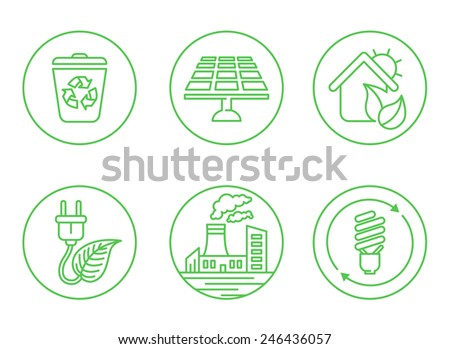 illustrated icons on the theme of ecology, in a simple linear style - stock vector