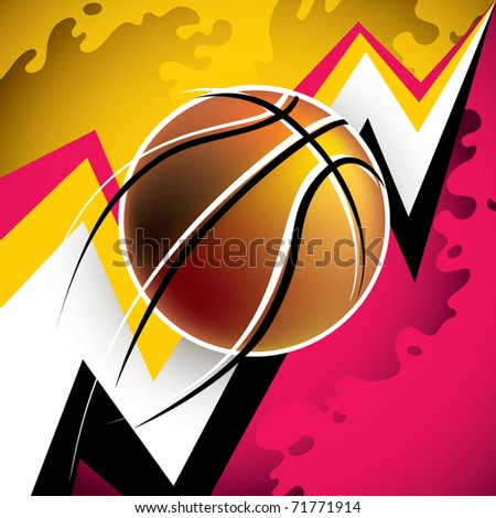 Illustrated modern basketball background with abstraction. Vector illustration. - stock vector