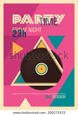 Illustrated party poster in color. Vector illustration. - stock vector