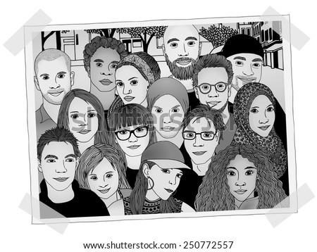 Illustrated photo of a group of young people - each person is drawn individually by hand, black and white shades added digitally - stock vector